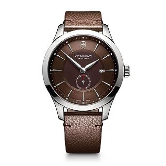 fe661607b Victorinox Men's Alliance Stainless Steel Swiss-Quartz Watch with Leather  Strap, Brown, 21