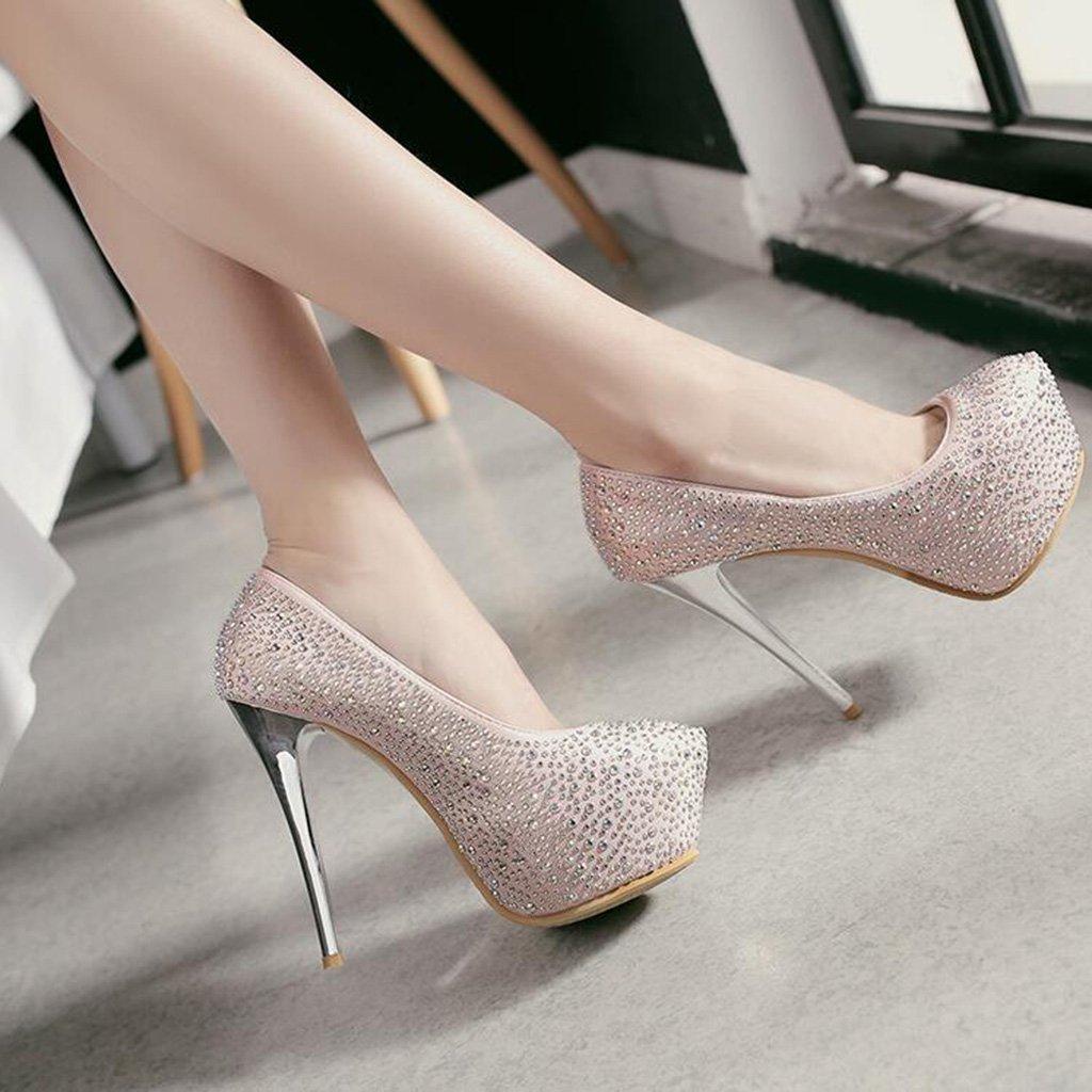 Schuhe mit hohen Absätzen Absätzen hohen Pailletten + Strassoberteile Flacher Mund Runder Kopf 13cm Feine Fersenschuhe High Heels Damenschuhe Pink b41353