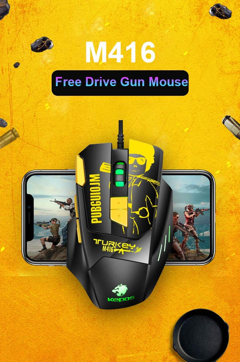 elegantstunning Fashion Professional Wired Mouse USB Optical Gaming Input Device 4800Dpi 8 Buttons Ergonomic Design Pubg Mouse for Pubg LOL Pc Lap-Top Gamer Player Simple Trend