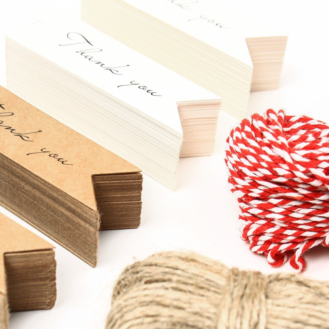 """2.8/""""/×0.8/"""" Tags Vancool 200 Kraft Paper Thank You Tags with 100 Feet Jute Twine and 100 Feet Bakers Twine"""