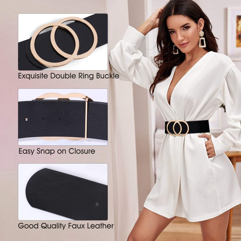 Women Fashion Wide Metal Hook Stretchy Elastic Dress Waist Belt High Quality LC