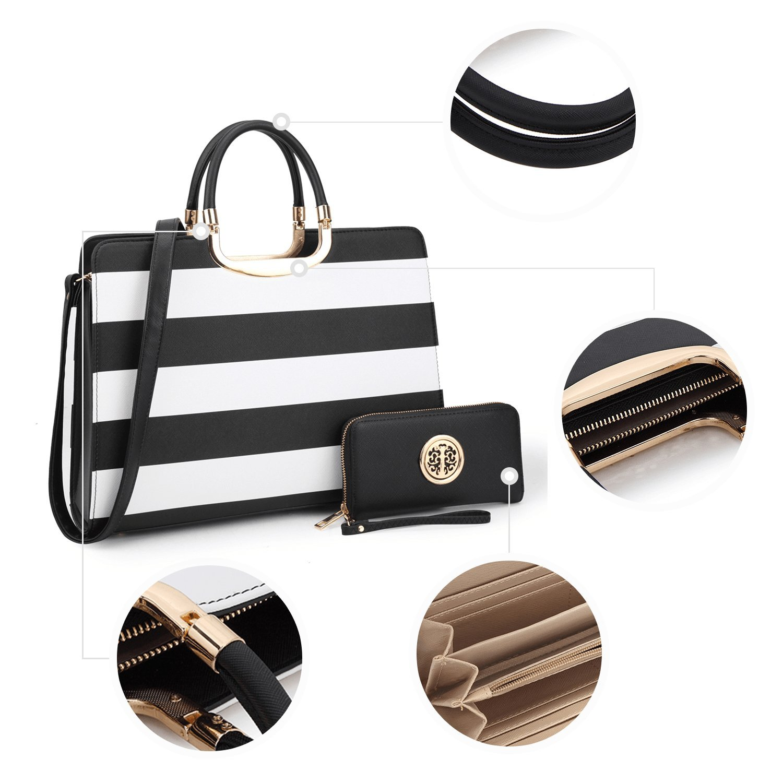 Dasein Designer Purse Stripes Satchel Handbag PU Leather Purse Top Handle Handbags (XL2828 stripe 2PCs- Black/White) by Dasein (Image #5)