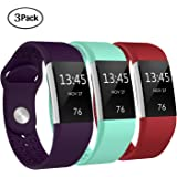 "Swees For Fitbit Charge 2 Bands Sport Silicone Small & Large (5.7"" - 8.3""), 3 Packs Breathable Replacement Bands with Air Holes for Fitbit Charge 2 Women Men, Black, Grey, Navy Blue, Pink, White, Teal"