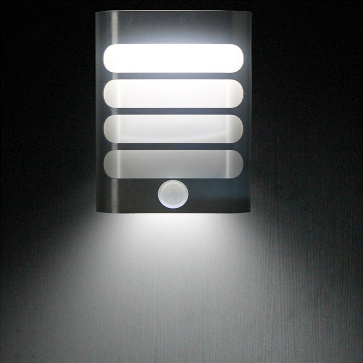 Motion Sensor LED Wall Lamp,Luxury Aluminum Night Light Stick Anywhere Energy-Saving Auto On/Off for Hallway, Closet,Cabinet,Garden,Kids Room Sconces (White)