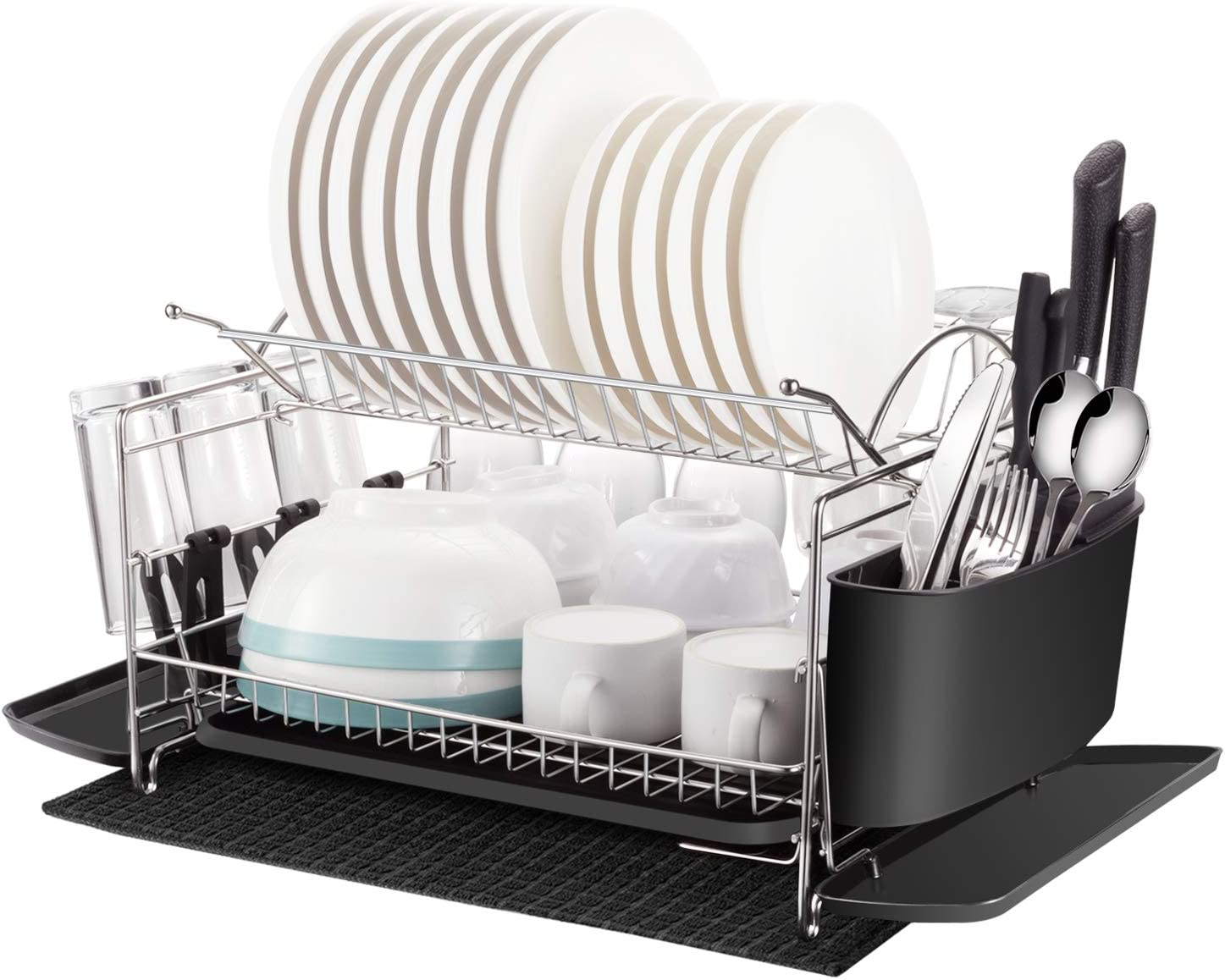 Kitchen Dish Drying Rack Oyydecor 2 Tier 304 Stainless Steel Large Dish Drying Rack With Drainboard Set Utensil Holder Dish Drainer Bonus Microfiber Mat And Dish Racks For Counter