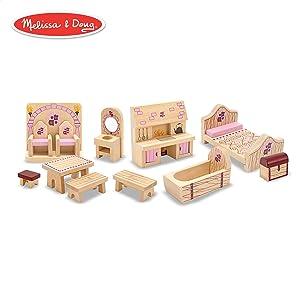 Melissa & Doug Princess Castle Wooden Dollhouse Furniture (12 pcs)