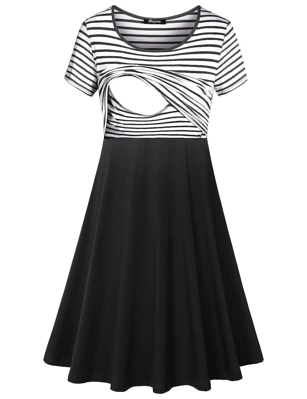 Quinee DRESS レディース B07DW6HCRF Large|ブラックホワイト ブラックホワイト Large