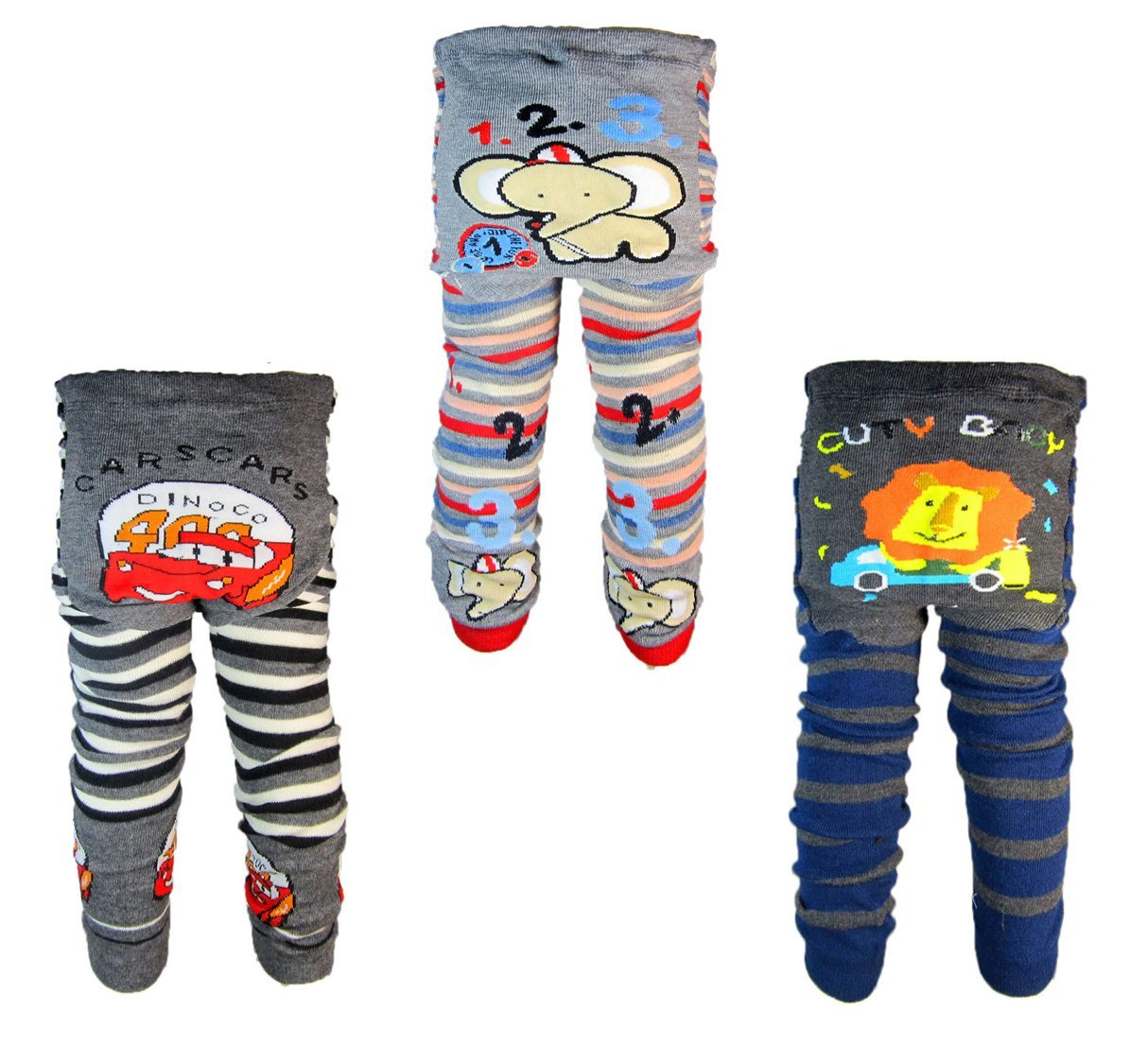 [Backbuy] 3 Pants 0-24 Months Baby Boys Toddler Leggings Trousers Knitted Pants(0-24 Months)