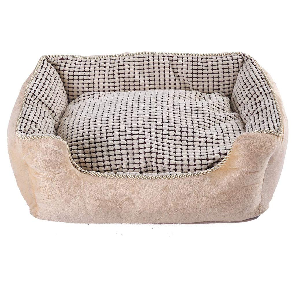 Beige S 555020cm Beige S 555020cm LITING Kennel Cat Litter Four Seasons Universal Dog Kennel Dog Bed Washable Teddy Winter Warm Small And Medium Dog Pet Supplies (color   Beige, Size   S 55  50  20cm)