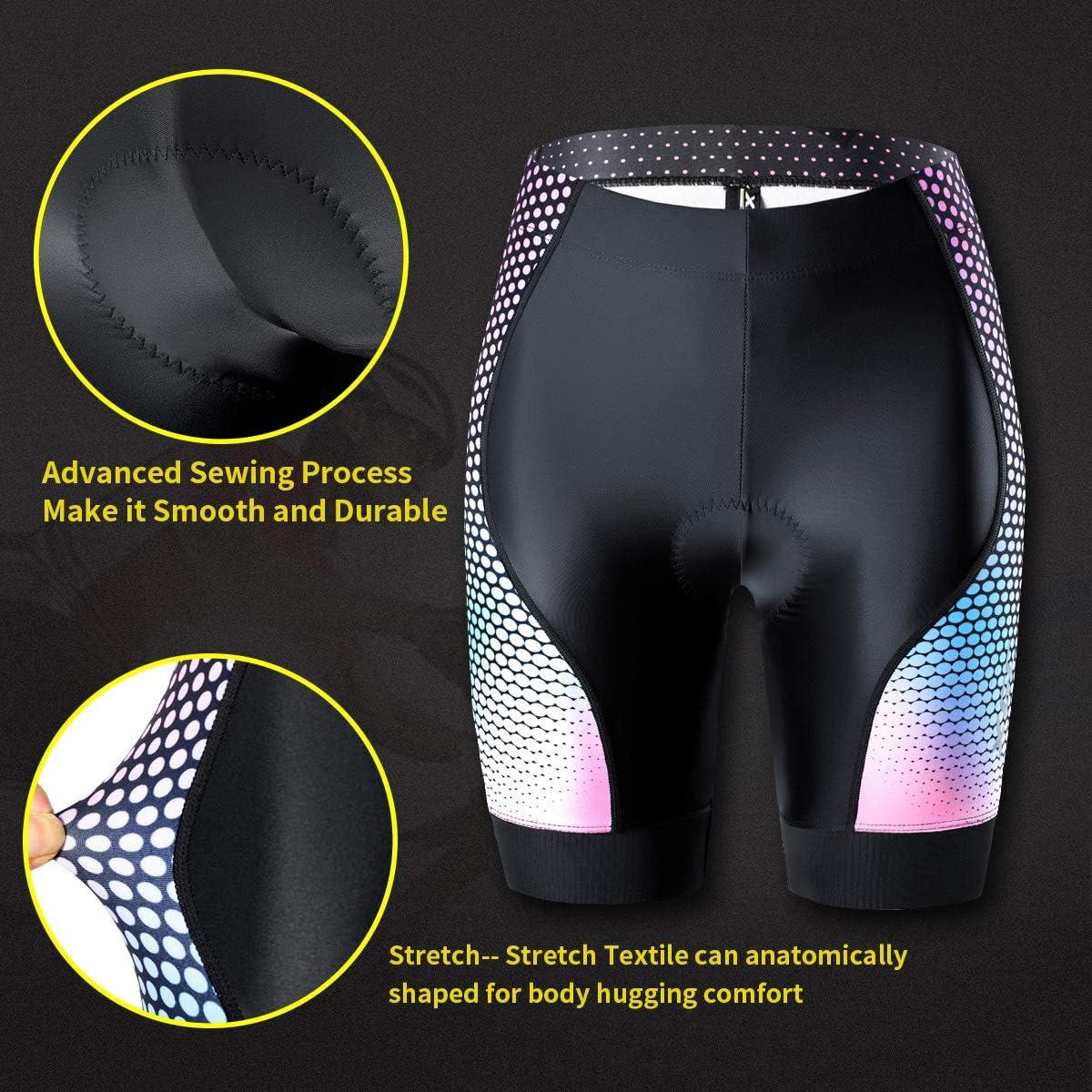 ad asciugatura rapida con imbottitura in spugna 4D ad alta densit/à Pantaloncini da ciclismo da donna ad alta elasticit/à e altamente traspirante XGC