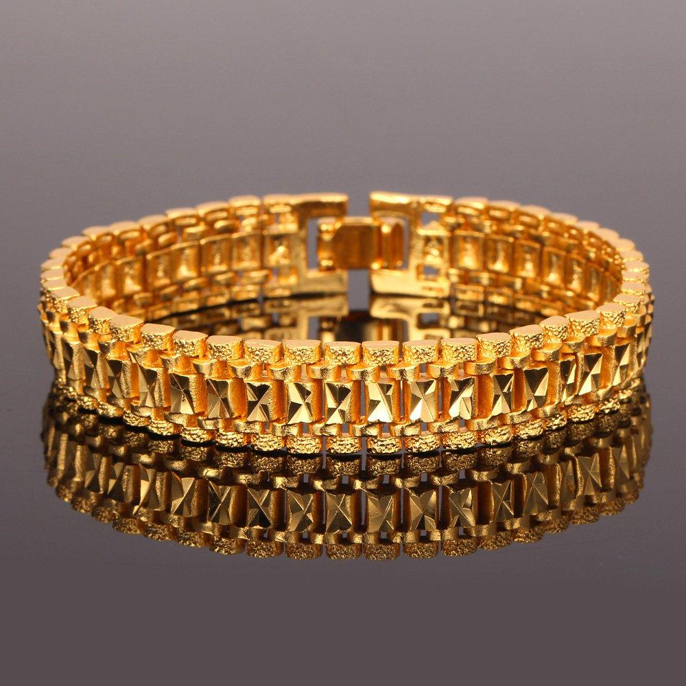 U7 Men Wrist Chain Bracelet 18K Gold Plated 12mm Wide Link Bracelets 21CM by U7 (Image #4)