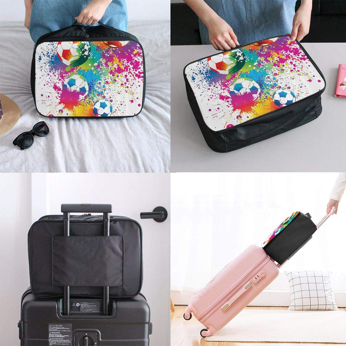 ADGAI Colored Splashes All Over The Soccer Canvas Travel Weekender Bag,Fashion Custom Lightweight Large Capacity Portable Luggage Bag,Suitcase Trolley Bag