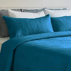 Mezzati Bedspread Coverlet Set Stunning Blue – Prestige Collection - Comforter Bedding Cover – Brushed Microfiber Bedding 2-Piece Quilt Set (Twin/Twin XL, Stunning Blue)