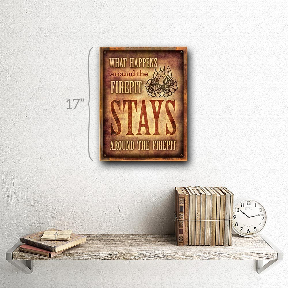 Framed, Outdoor What Happens Around the Firepit 12''x16'' Metal Sign, Patio, Porch, Deck, Hand-Crafted from reclaimed materials by Homebody Accents ® (Image #2)