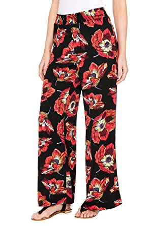 45d57b094447 Roman Originals Women Floral Print Wide Leg Trousers - Ladies Palazzo  Casual Elastic Waist Pull On Loose Lightweight Summer Flared Jersey Boho  Hippy Printed ...