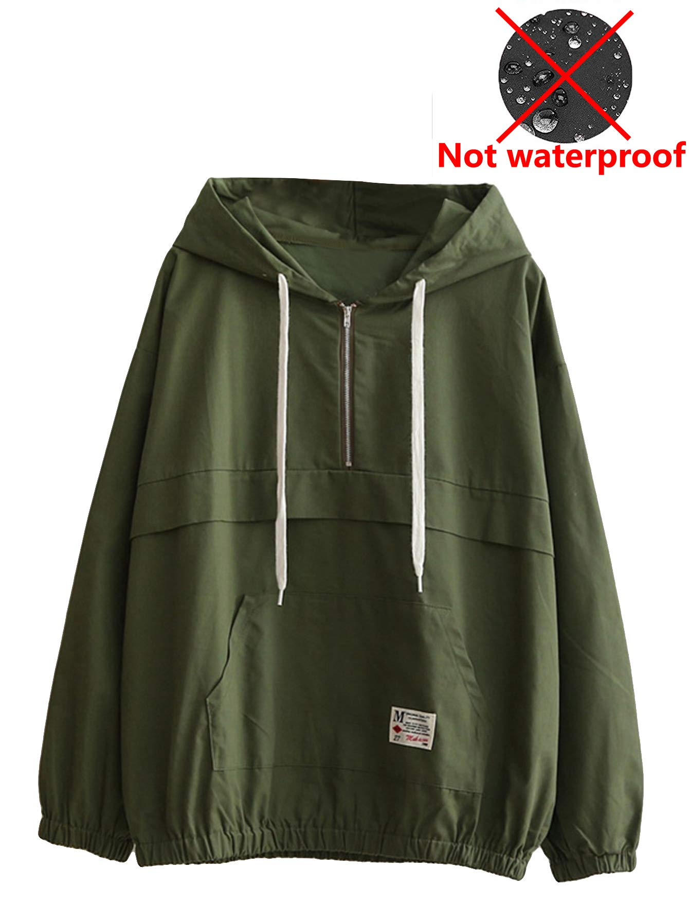 Romwe Women's Lightweight Kangaroo Pocket Anorak Sports Jacket Drawstring Hooded Zip up Windproof Windbreaker Army-Green M