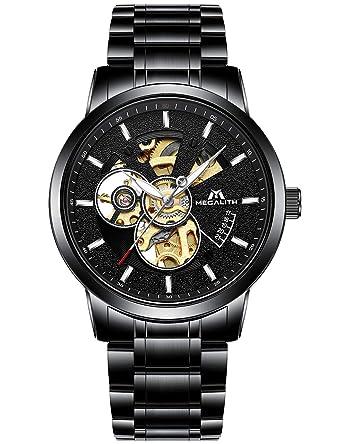 Inoxydable Squelette Homme Luxe Montres Analogique Mécanique Etanche Noir Automatique Montre Acier Sport Design Bracelets Classique rCBdxWoe