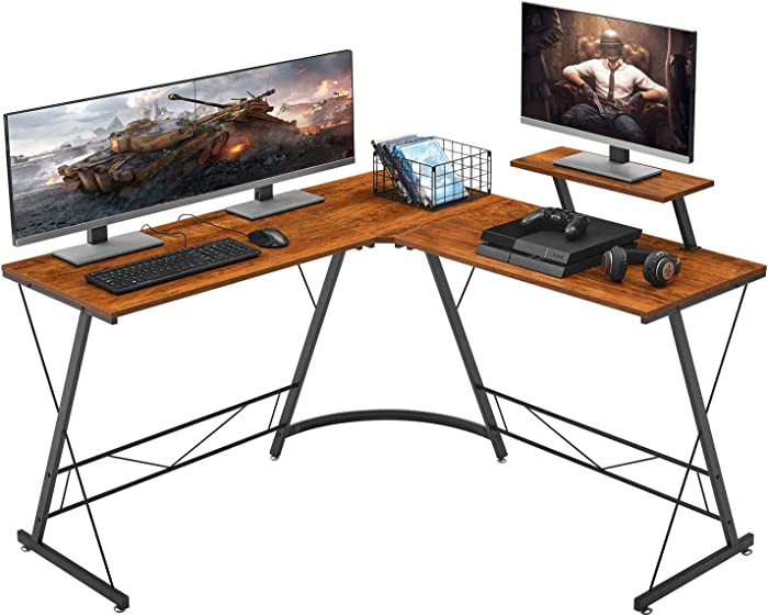"Mr IRONSTONE L-Shaped Desk 50.8"" Computer Corner Desk, Home Gaming Desk, Office Writing Workstation with Large Monitor Stand, Space-Saving, Easy to Assemble, (Vintage)"