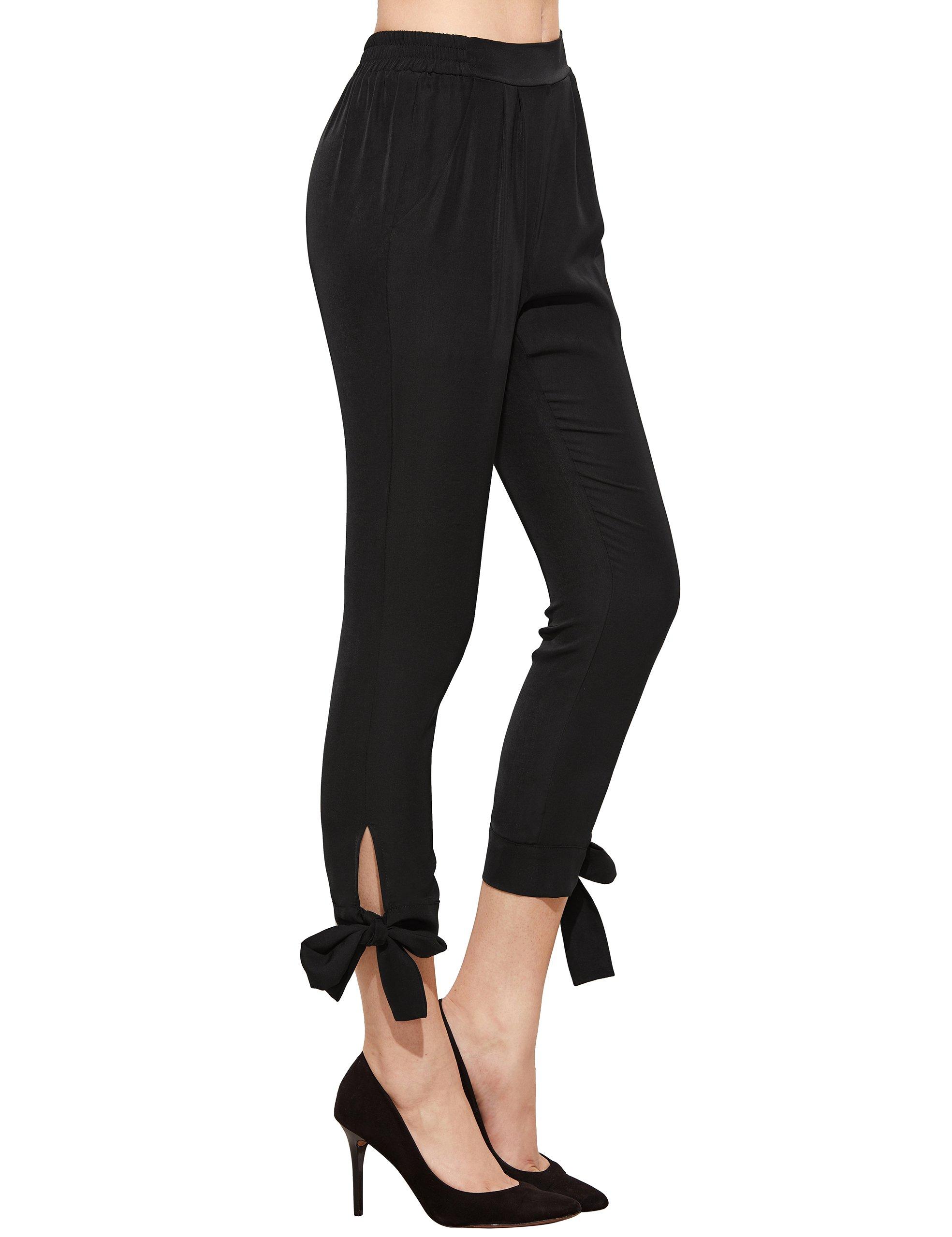 SheIn Women's Elastic Waist Comfy Bow Tie Hem Crop Skinny Pants with Pockets Small Black by SheIn (Image #4)