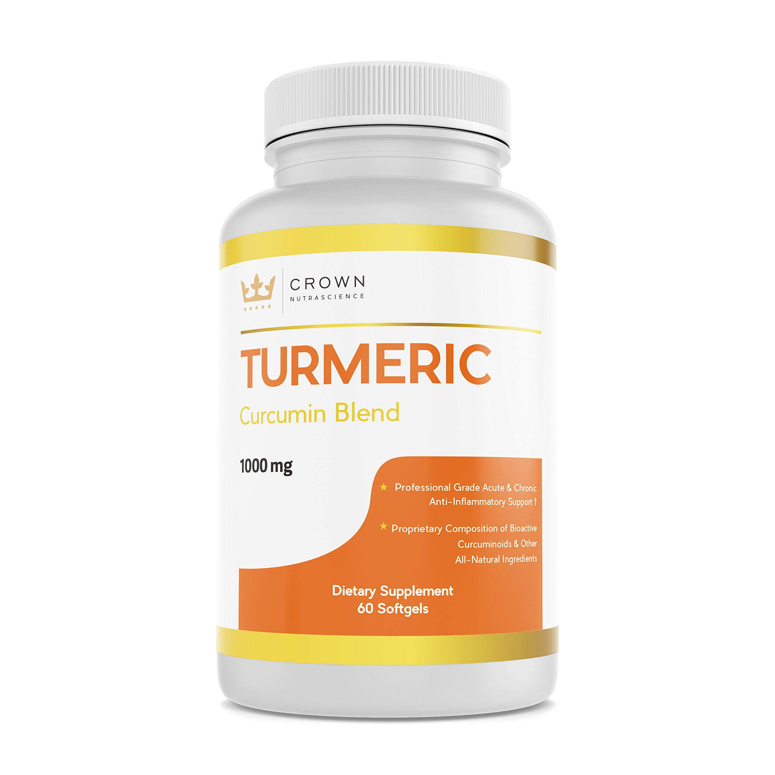Turmeric Curcumin 1000mg, 60 Softgels, Crown NutraScience - 380mg Turmeric Extracts (Curcuminoid Powder) per Single Softgel, Emulsified for Maximum Absorption, Premium Joint Support & Pain Relief by Crown NutraScience (Image #1)