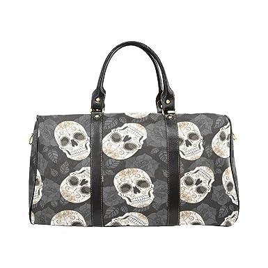 Leaves Sugar Skull Large Travel Duffel Bag Waterproof Weekend Bag Luggage  with Strap d3950aaa226