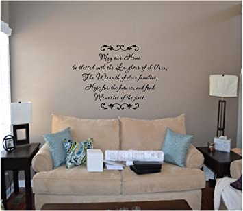 May Our Home Be Blessed Living Room Vinyl Wall Decals Quotes Family Blessing Wall Decal Family