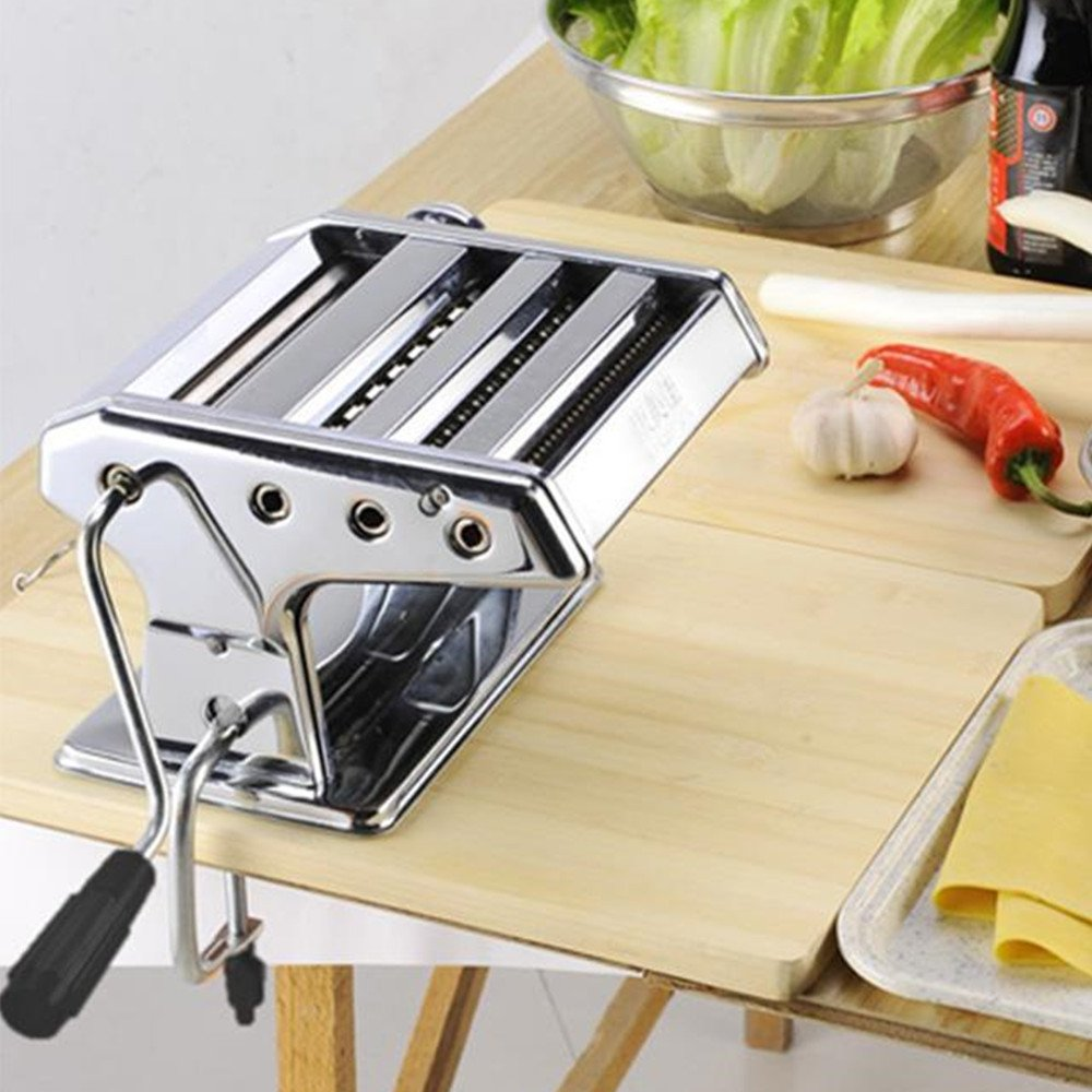 Meharbour Manual Hand Crank Pasta Maker, Stainless Steel Pasta Roller and Cutter Machine, Slices Dough into Spaghetti and Fettuccine (US STOCK)