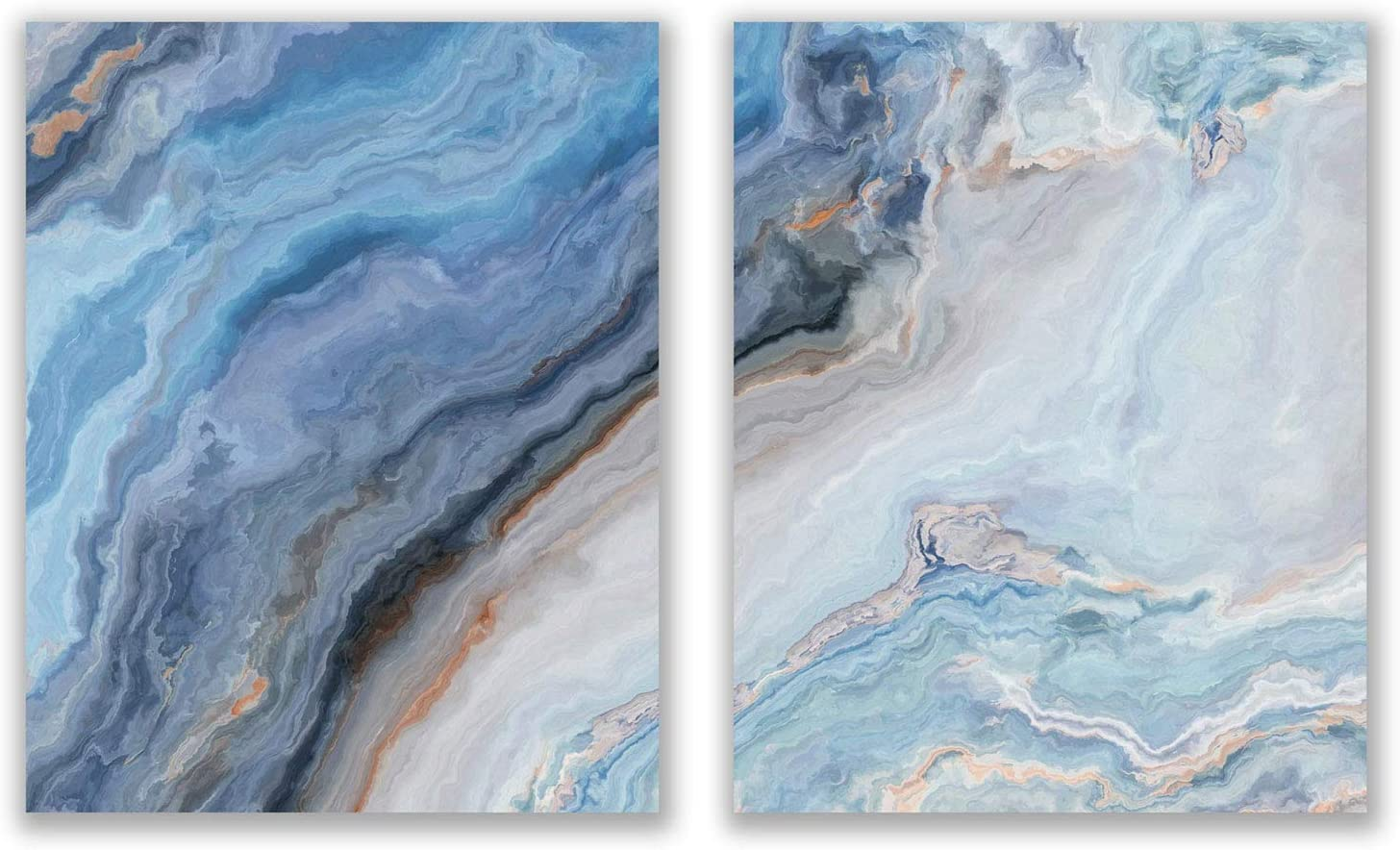 Blue Agate Prints - Set of 2 (8x10) Unframed Glossy Modern Abstract Geode Gold Marble Wall Art Decor