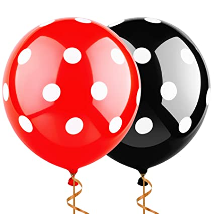 Amazon Sepco 12 Inch 100 Pcs Latex Balloons Black And Red With White Polka Dot For Wedding Birthday Party Decorations Toys Games