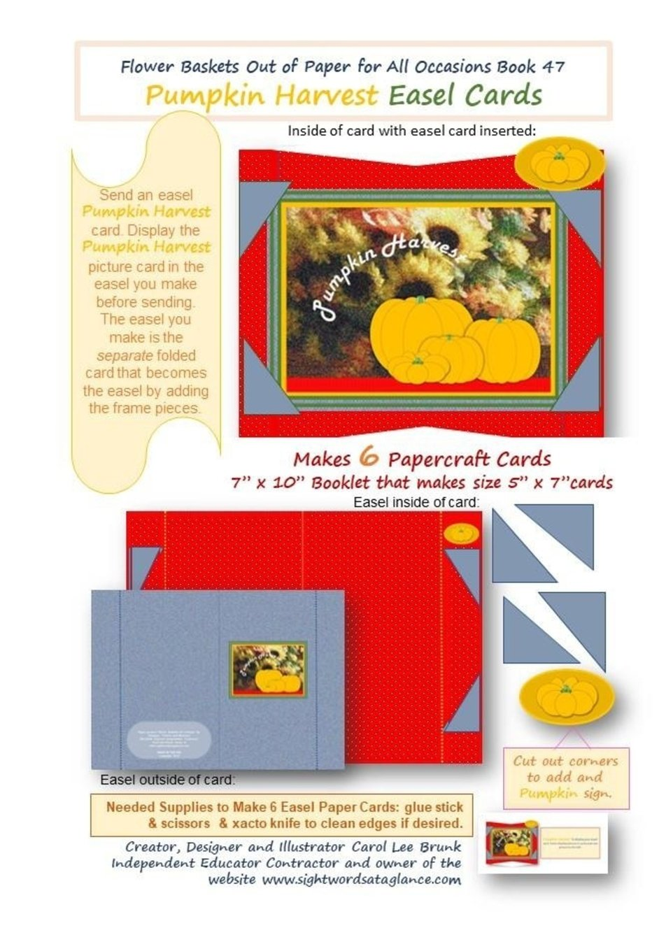 FLOWER BASKETS OUT OF PAPER FOR ALL OCCASSIONS Book 47: Pumpkin Harvest Easel Cards (Volume 52) PDF