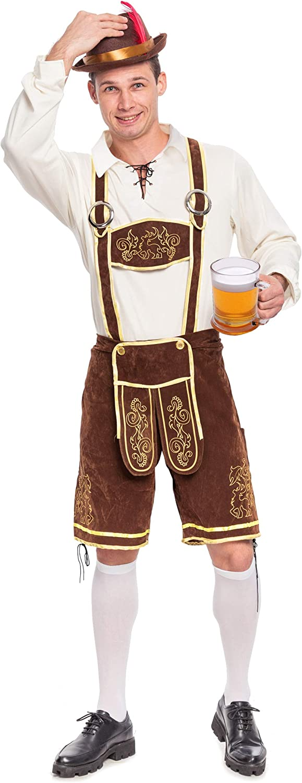 Spooktacular Creations Disfraz de Fiesta de Cervez Conjunto de de Oktoberfest bávaro Alemán Disfraces para Hombres Halloween (Marrón, XL)
