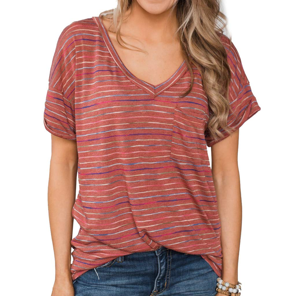 Short Sleeve Tee Blouse for Women,Amiley Women Stripes Short Sleeve T Shirts Colorful V Neck Casual Tops Blouse (X-Large, Red)
