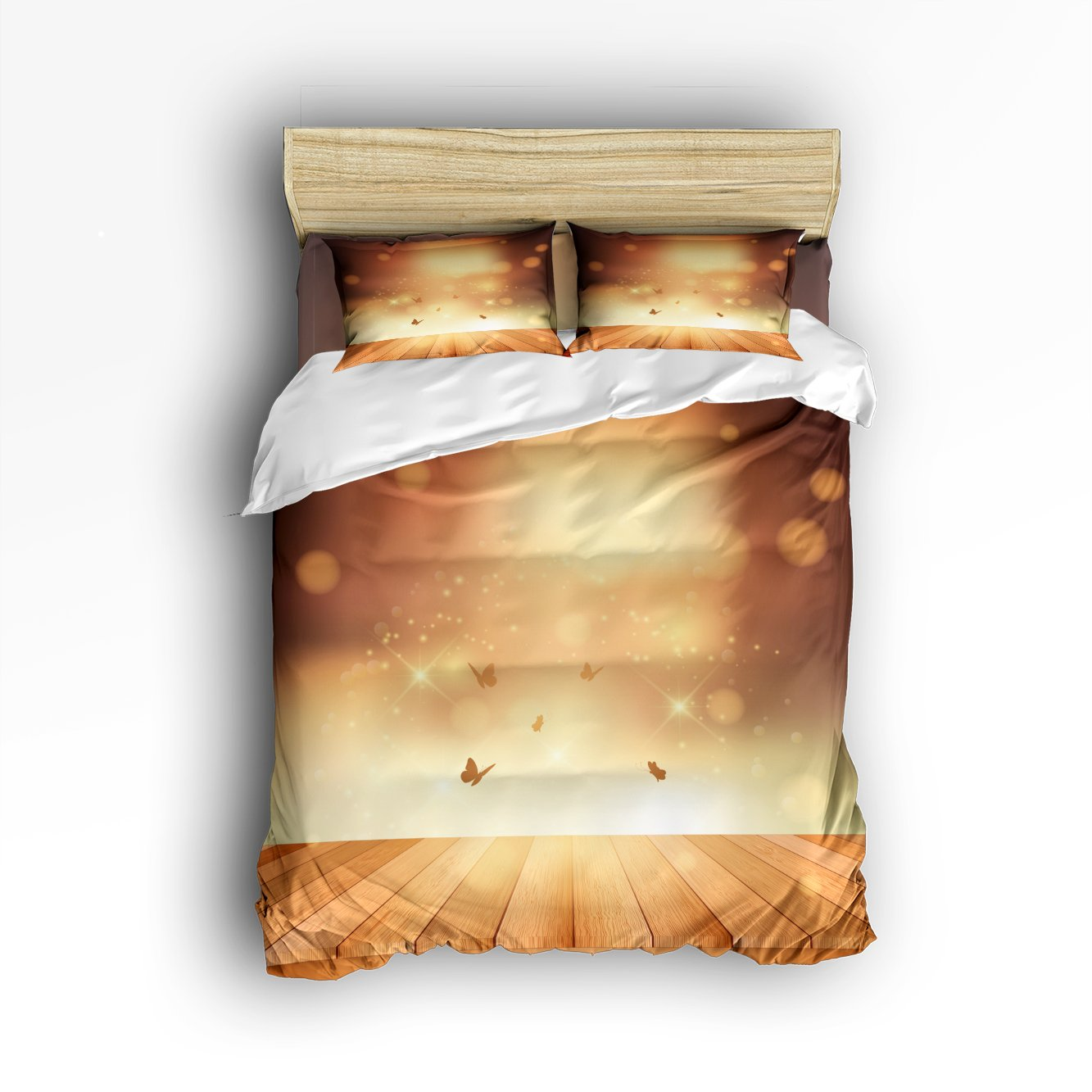 Libaoge 4 Piece Bed Sheets Set, Butterflies on Rustic Old Barn Wood with Shiny Sunlight Print, 1 Flat Sheet 1 Duvet Cover and 2 Pillow Cases