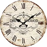 """Grazing 12"""" Cute Cartoon Vintage Owl Design Arabic Numerals Rustic Country Tuscan Style Wooden Decorative Round Wall Clock (France Normand)"""