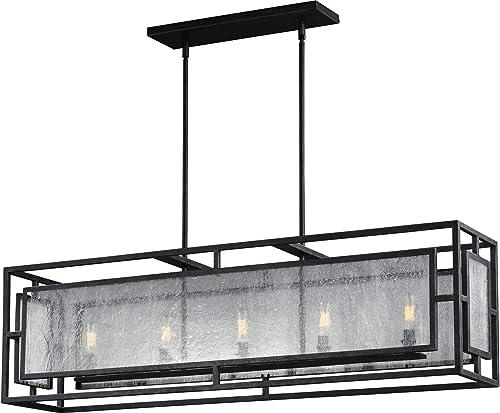 Feiss F3037 5DWZ Prairielands Glass Candle Chandelier Lighting, Bronze, 5-Light 42 L x 12 H 300watts