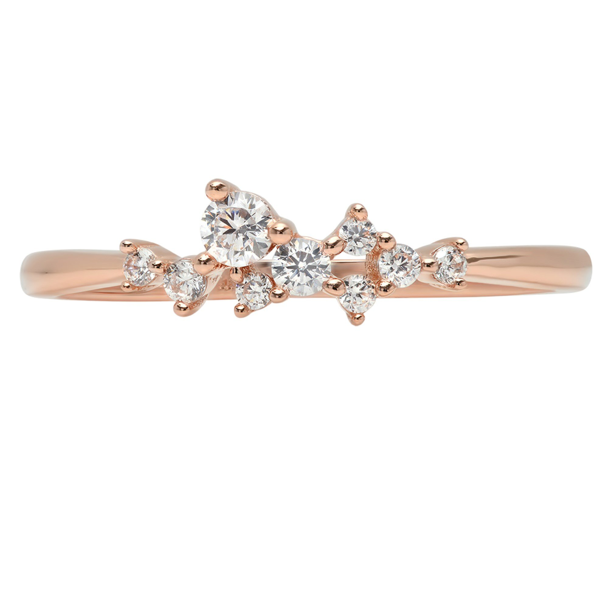 0.28ct Brilliant Round Cut cluster Pyramid Statement Solitaire Stacking Band 14K Rose Gold, 5.5, Clara Pucci