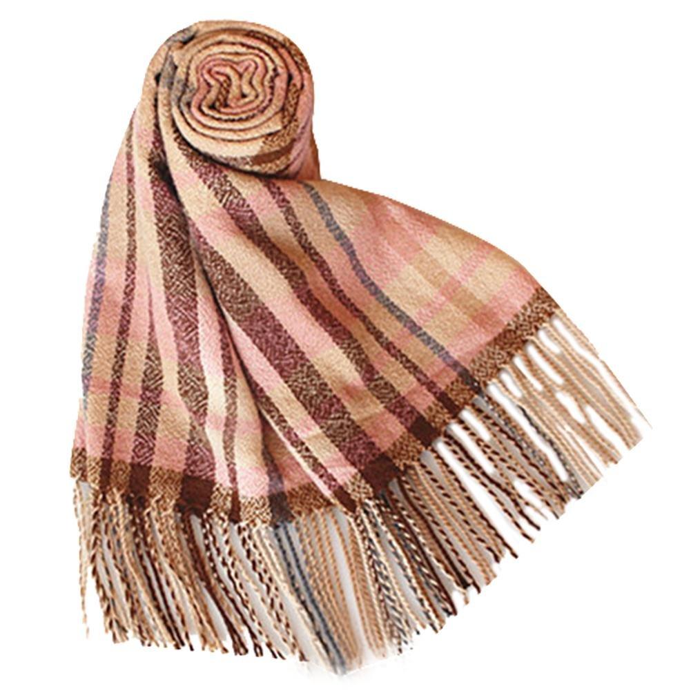 QJIAXING Moda cachemire imitazione selvaggia di lana caldo doppio strato nappa sciarpe lavorate a ma...