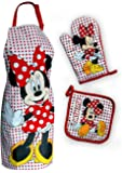 Maxi&Mini - SET DE CUISINE TABLIER + MANIQUE + GANT DE CUISINE MOTIF MINNIE MOUSE DISNEY