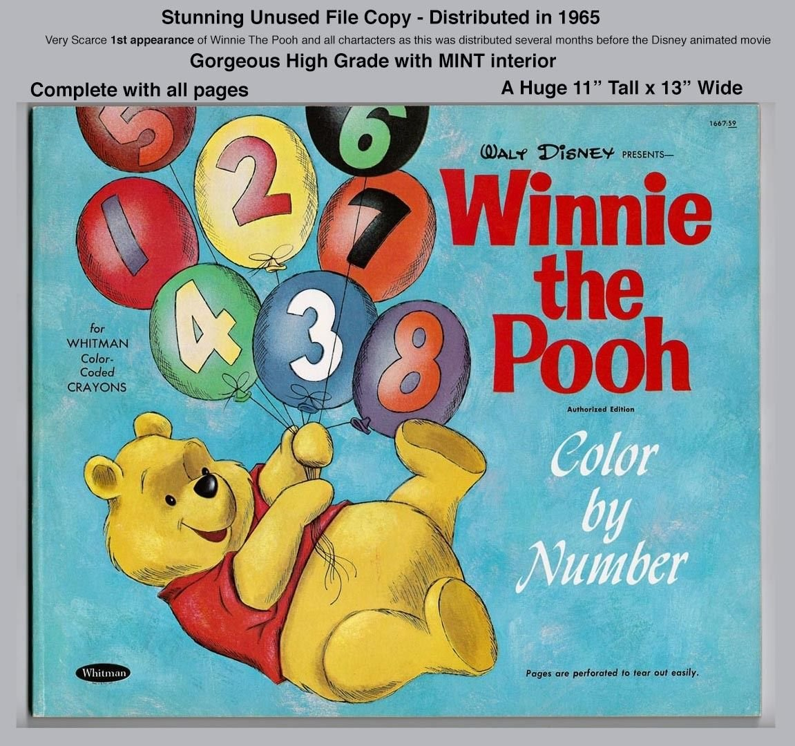 WINNIE THE POOH COLOR BY NUMBER - RARE UNUSED FILE COPY - 1965 ...