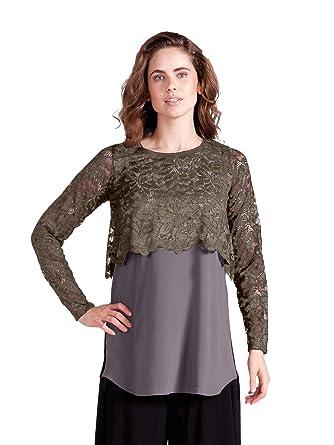 6334534773e Sympli Women's Lace Shorty Top-Truffle at Amazon Women's Clothing store: