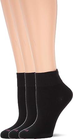 Set of 3 Hue Womens 1207 Black /& Pink Turn Cuff Socks One Size