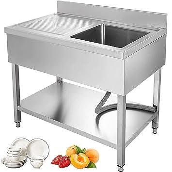 GIOEVO Lavello cucina 1 vasca Lavello in Acciaio ...