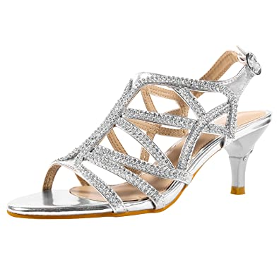 24cd62cbab2f1 SheSole Women s Rhinestone Dress Sandals Low Heel Prom Wedding Shoes Silver  ...
