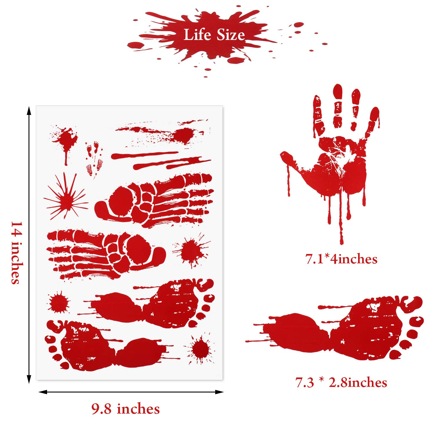 138 Piezas Halloween Huella Sangrienta Pegatinas Bloody Handprint Floor Clings para Halloween Vampire Zombie Party Decorations Supplies