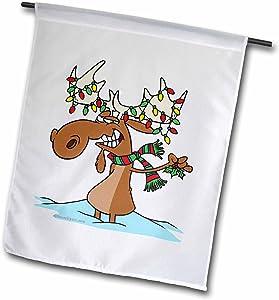3dRose fl_104122_1 Funny Silly Christmas Moose Cartoon Garden Flag, 12 by 18-Inch