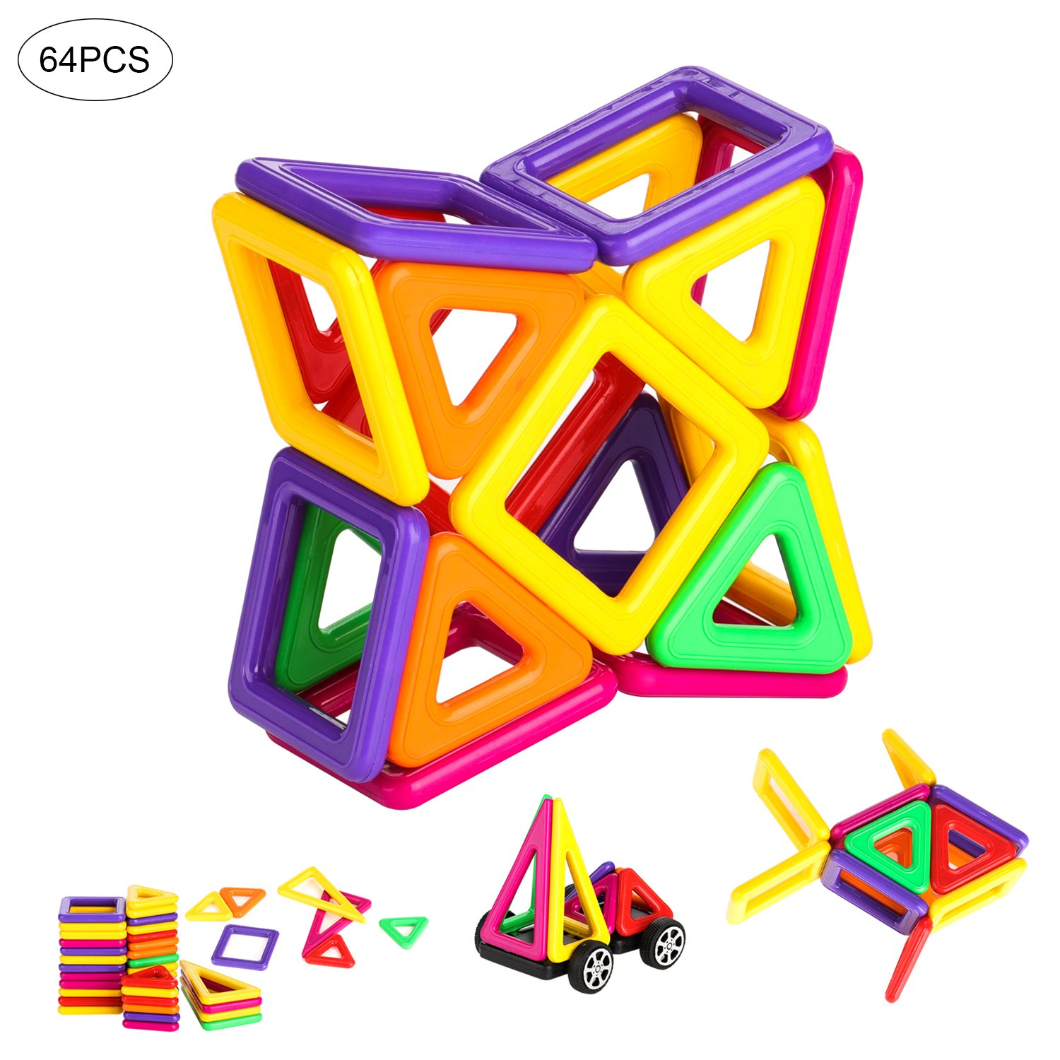 64 Pcs Magnetic Building Blocks Set for Kids, Educational Stacking Tiles Building Construction Toddler Creative Imagination Development Toys for Boys and Girls Kanical