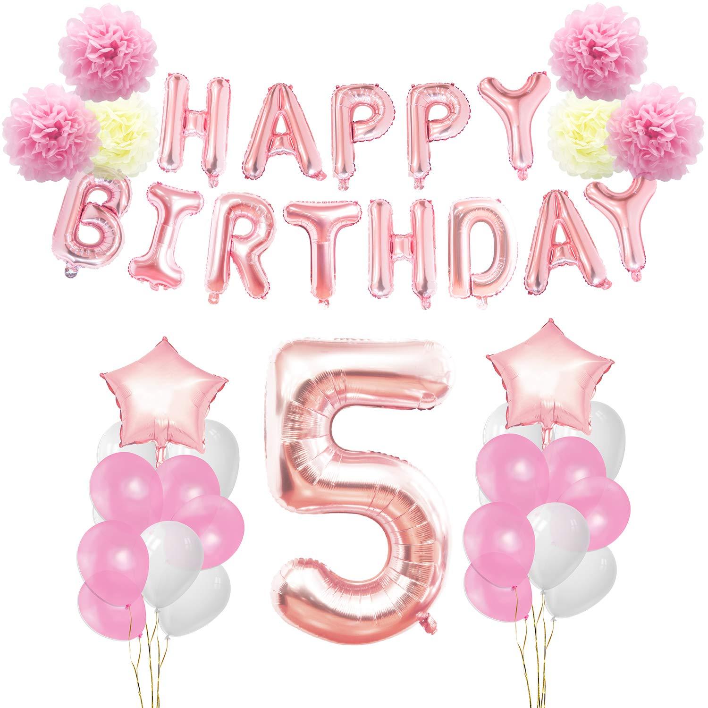 KUNGYO 5 años Oro Rosa Decoraciones de Fiesta de Cumpleaños - Happy Birthday Bandera de Globos, Globos de Aluminio Número y Estrella, Cintas ...