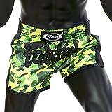 Fairtex BS1710 - New Design Slim Cut Satin Shorts Camouflage Green Color for Boxing Muay Thai Kick Boxing MMA K1 Training キックボクシングのためのボクシングムエタイサテンショーツ
