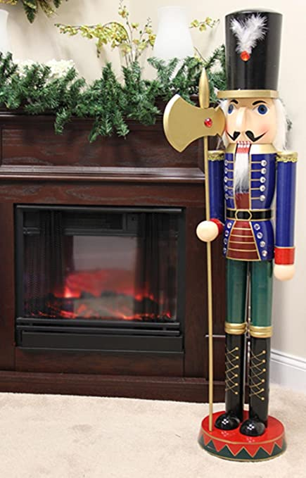 sterling 4 foot giant wooden soldier christmas nutcracker with halberd - Christmas Decorations Wooden Soldiers