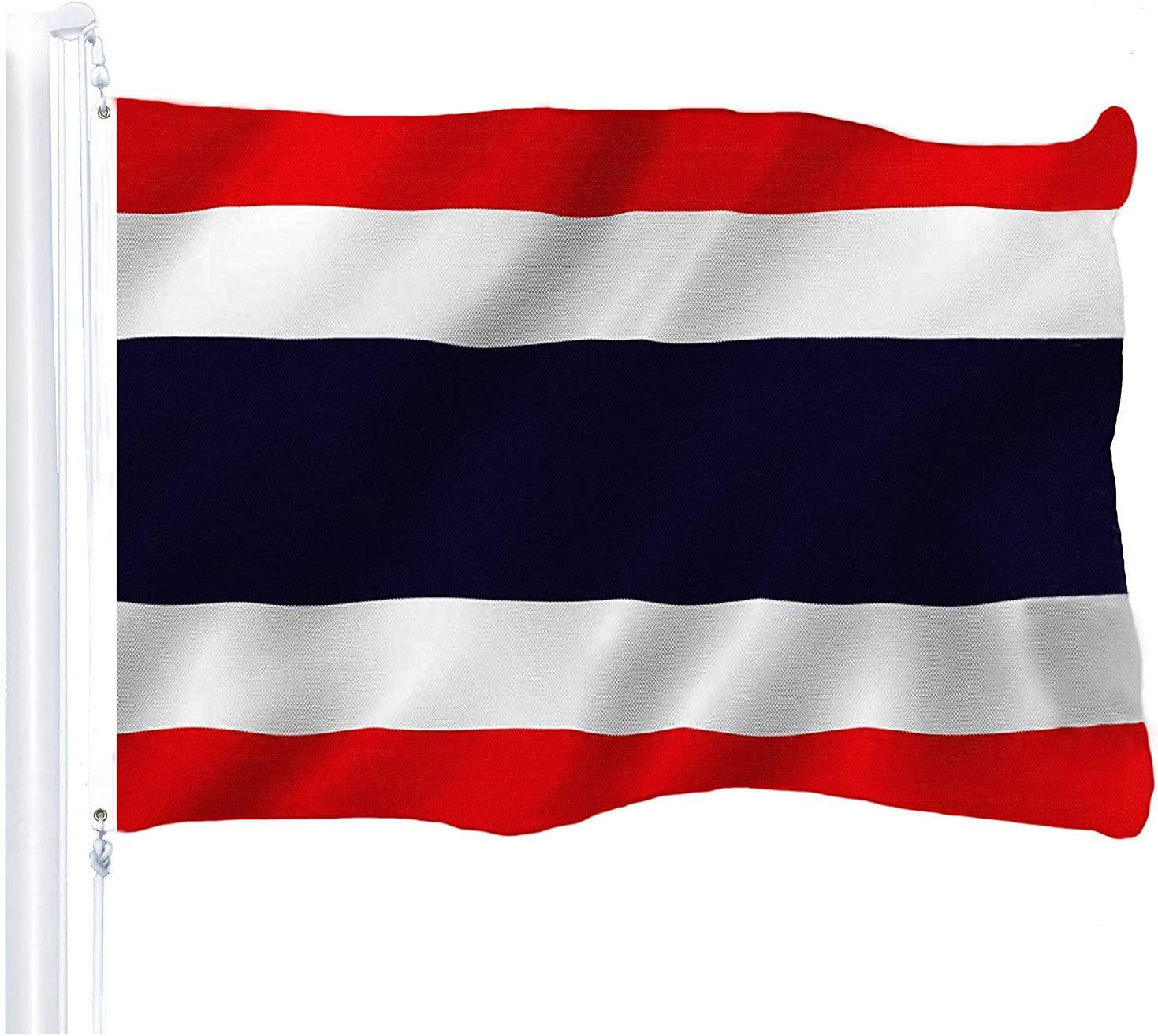 G128 – Thailand (Thai) Flag | 3x5 feet | Printed 150D – Indoor/Outdoor, Vibrant Colors, Brass Grommets, Quality Polyester, US USA Flag, Much Thicker More Durable Than 100D 75D Polyester